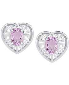 Amethyst Greek Key Heart Stud Earrings (1-5/8 ct. t.w.) in Sterling Silver