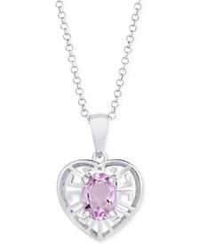 """Amethyst Greek Key Heart 18"""" Pendant Necklace (1-1/5 ct. t.w.) in Sterling Silver"""