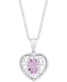 "Amethyst Greek Key Heart 18"" Pendant Necklace (1-1/5 ct. t.w.) in Sterling Silver"