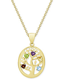 "Multi-Gemstone Tree of LIfe 18"" Pendant Necklace (3/4 ct. t.w.) in 18k Gold-Plated Sterling Silver"
