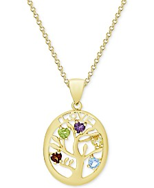 "Multi-Gemstone Family Tree 18"" Pendant Necklace (3/4 ct. t.w.) in 18k Gold-Plated Sterling Silver"