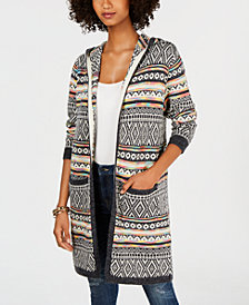 Monteau Hooded Intarsia Duster Cardigan