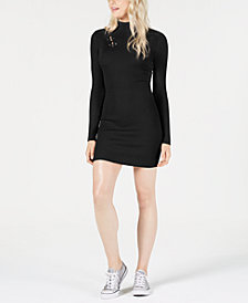Planet Gold Juniors' Lace-Up Sweater Dress