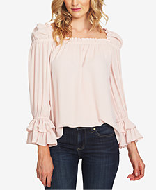 CeCe Ruffled Puff-Shoulder Top