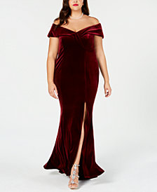 Xscape Plus Size Off-The-Shoulder Velvet Gown