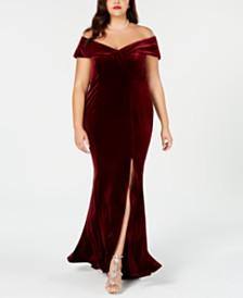 Xscape Plus Size Off-The-Shoulder Velvet Gown