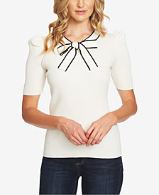 CeCe Cotton Puff-Sleeve Bow Sweater