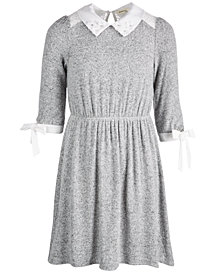 Monteau Big Girls Lace-Detail Embellished-Collar Dress