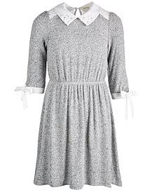 Monteau Big Girls Lace-Detail Embellished-Collar Dress