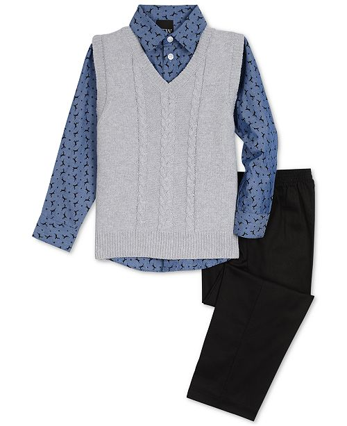e11658328 TFW Toddler Boys 3-Pc. Cable-Knit Sweater Vest