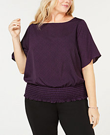 MICHAEL Michael Kors Plus Size Smocked-Hem Top