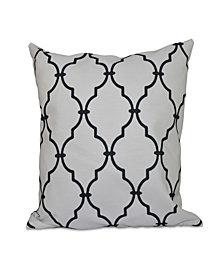16 Inch White Decorative Trellis Print Throw Pillow