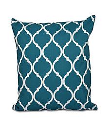 16 Inch Teal Decorative Trellis Print Throw Pillow