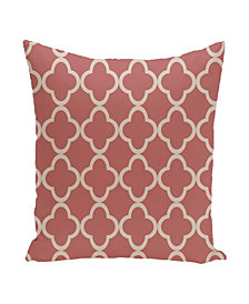 16 Inch Coral and Taupe Decorative Trellis Print Throw Pillow