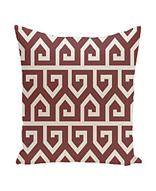 16 Inch Rust Decorative Geometric Throw Pillow