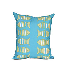 Something's Fishy 16 Inch Turquoise and Bright Green Decorative Coastal Throw Pillow