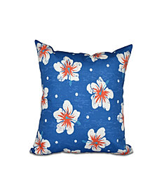 Hibiscus Blooms 16 Inch Blue Decorative Floral Throw Pillow