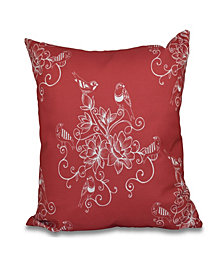 Morning Birds 16 Inch Coral Decorative Floral Throw Pillow