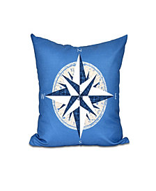 Compass 16 Inch Blue and Taupe Decorative Nautical Throw Pillow