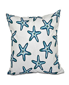 Soft Starfish 16 Inch Teal Decorative Coastal Throw Pillow