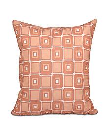Square Pop 16 Inch Coral Decorative Coastal Throw Pillow