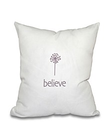 Make a Wish 16 Inch Light Purple Decorative Word Print Throw Pillow