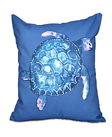 Sea Turtle 16 Inch Blue Decorative Coastal Throw Pillow