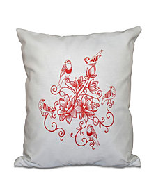 Five Little Birds 16 Inch Coral Decorative Floral Throw Pillow