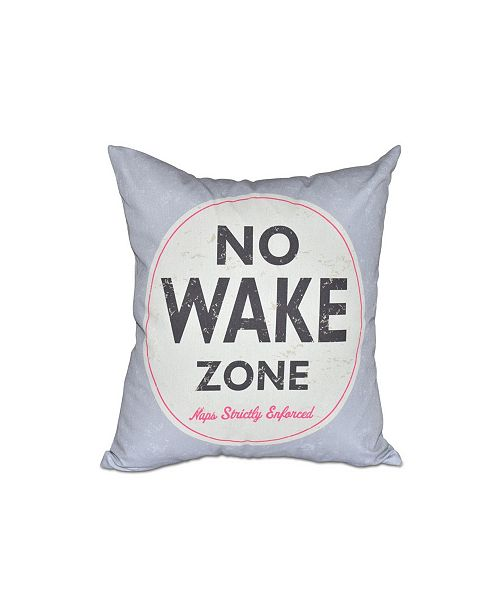 E by Design Nap Zone 16 Inch Gray Decorative Word Print Throw Pillow