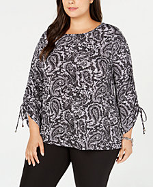 MICHAEL Michael Kors Plus Size Printed Gathered-Sleeve Top