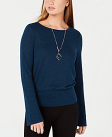 BCX Juniors' Crisscross Bell-Sleeve Top