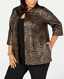 Alex Evenings Plus Size Metallic Jacket & Top