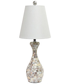 Elegant Designs Trendy Malibu Seashell Mosaic Look Curved Table Lamp with Chrome Accents