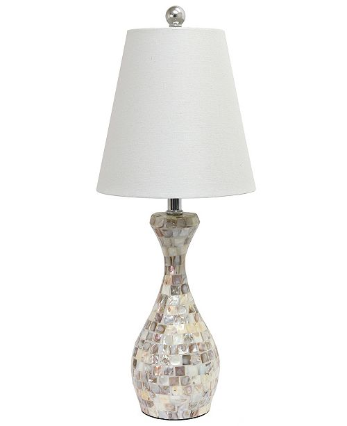All The Rages Elegant Designs Trendy Malibu Seashell Mosaic Look Curved Table Lamp with Chrome Accents