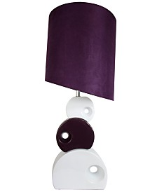 Elegant Designs Purple and White Stacked Circle Ceramic Table Lamp with Asymmetrical Shade