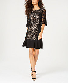 NY Collection Petite Lace Flounce-Hem Dress