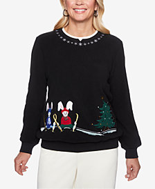 Alfred Dunner Petite Classics Bunny-Embroidered Knit Top