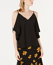 Bar III Cold-Shoulder Flounce Top, Created for Macy's