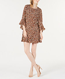 Bar III Bell-Sleeve Cheetah-Print Dress, Created for Macy's