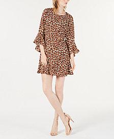 Bar III Bell-Sleeve Cheetah-Print Dress, Created for Macy's