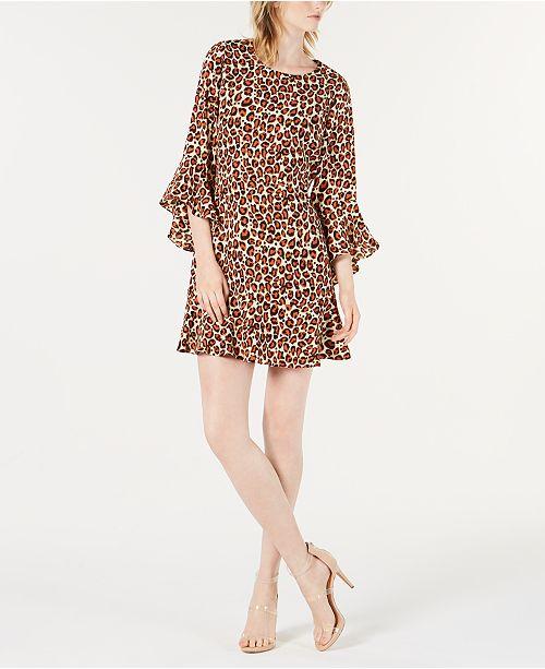 db0c8edeaf ... Bar III Bell-Sleeve Leopard-Print Dress