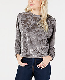 Freshman Juniors' Camo Burnout Velvet Crop Top