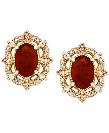 Ruby (1-1/3 ct. t.w.) & Diamond (1/8 ct. t.w.) Stud Earrings in 14k Gold