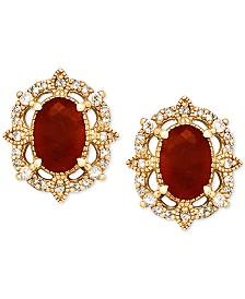 Ruby (1-1/3 ct. t.w.) & Diamond (1/8 ct. t.w.) Stud Earrings in 14k Gold