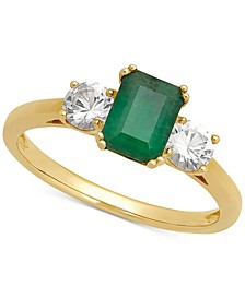 Emerald (1 ct. t.w.) & White Sapphire (5/8 ct. t.w.) Ring in 14k Gold