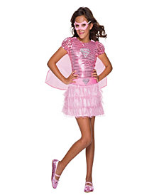 Kids Pink Supergirl Tutu Dress Girls Costume