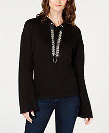 I.N.C. Faux-Pearl-Embellished Pullover Hoodie, Created for Macy's