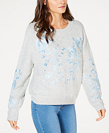 I.N.C. Embroidered Crew-Neck Sweater, Created for Macy's