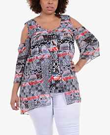 NY Collection Plus Size Layered Cold-Shoulder Tunic