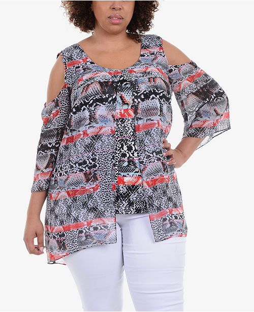 0a5d8201dfc664 NY Collection. Plus Size Layered Cold-Shoulder Tunic. 1 reviews. main image